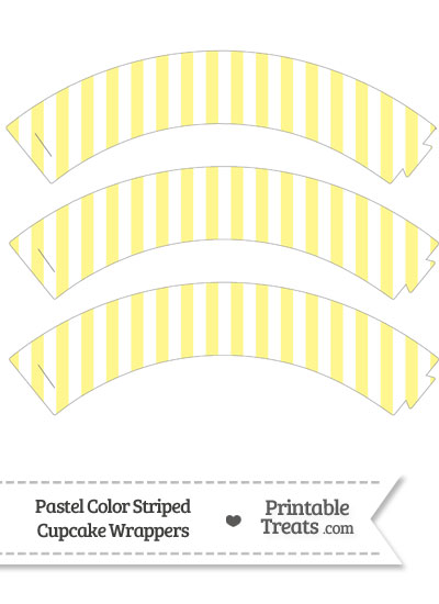 Pastel Yellow Striped Cupcake Wrappers from PrintableTreats.com