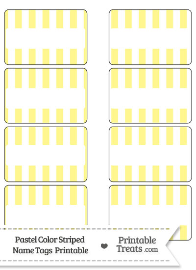 Pastel Yellow Striped Name Tags from PrintableTreats.com