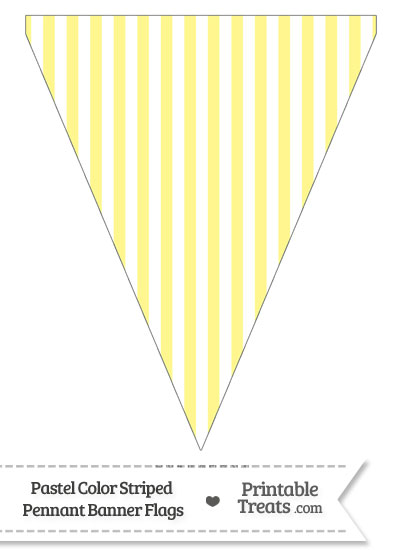 Pastel Yellow Striped Pennant Banner Flag from PrintableTreats.com