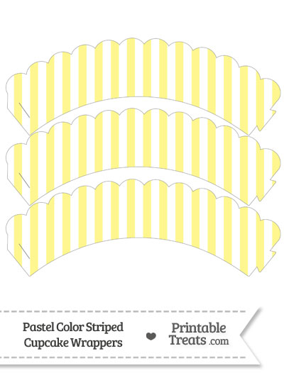 Pastel Yellow Striped Scalloped Cupcake Wrappers from PrintableTreats.com