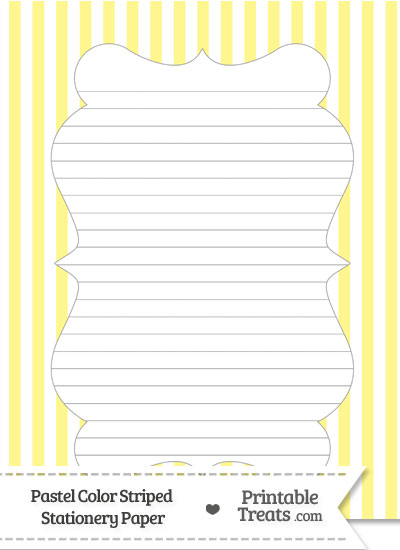 Pastel Yellow Striped Stationery Paper from PrintableTreats.com
