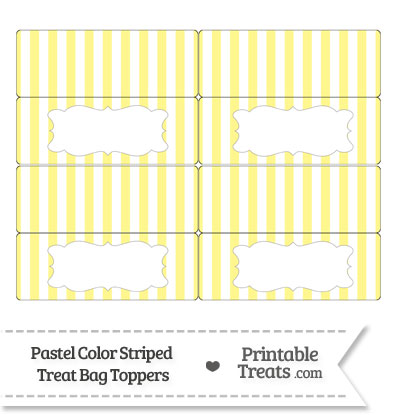 Pastel Yellow Striped Treat Bag Toppers from PrintableTreats.com