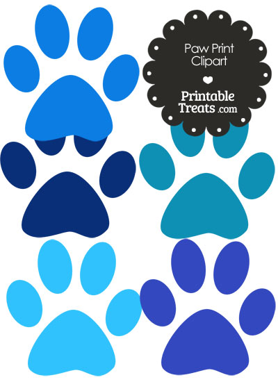 Paw Print Clipart in Shades of Blue from PrintableTreats.com