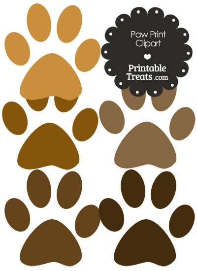 Paw Print Clipart in Shades of Brown from PrintableTreats.com