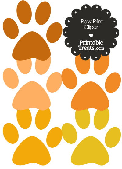 Paw Print Clipart in Shades of Orange from PrintableTreats.com
