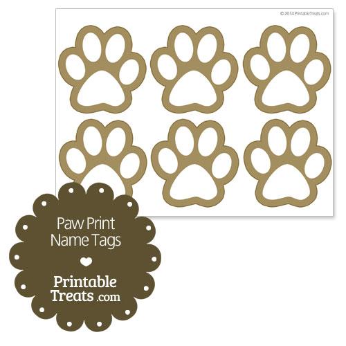 paw print name tags