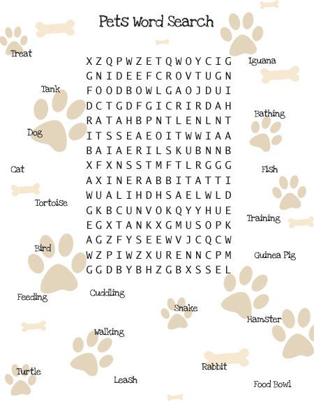 pets word search printable