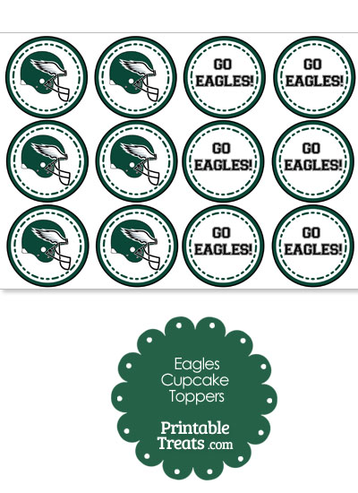 Philadelphia Eagles Cupcake Toppers from PrintableTreats.com