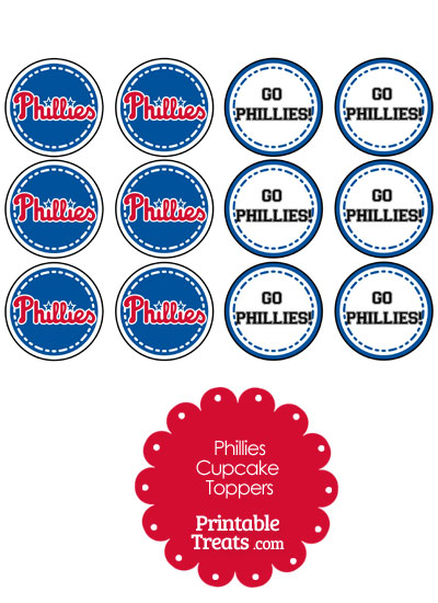 Philadelphia Phillies Cupcake Toppers from PrintableTreats.com