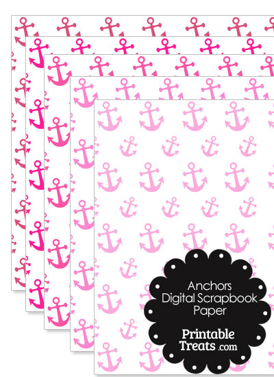 Pink Anchor Digital Scrapbook Paper from PrintableTreats.com
