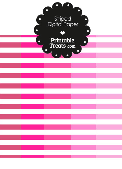 Pink and White Horizontal Striped Digital Scrapbook Paper from PrintableTreats.com