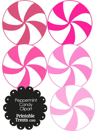 Pink and White Peppermint Candy Clipart from PrintableTreats.com