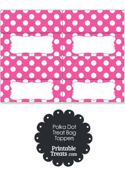 Pink and White Polka Dot Treat Bag Toppers from PrintableTreats.com