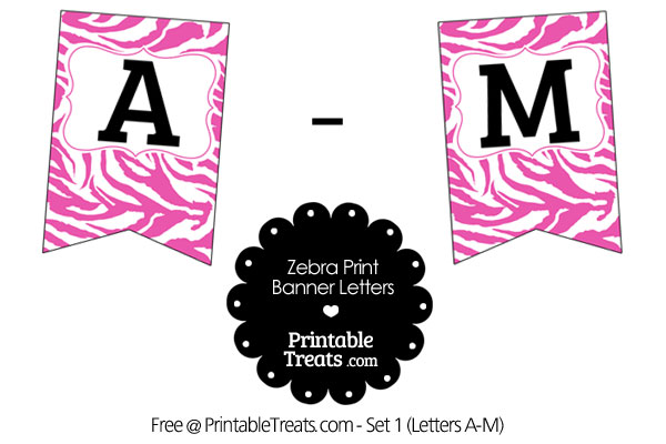 pink and white zebra print bunting banner letters a-m