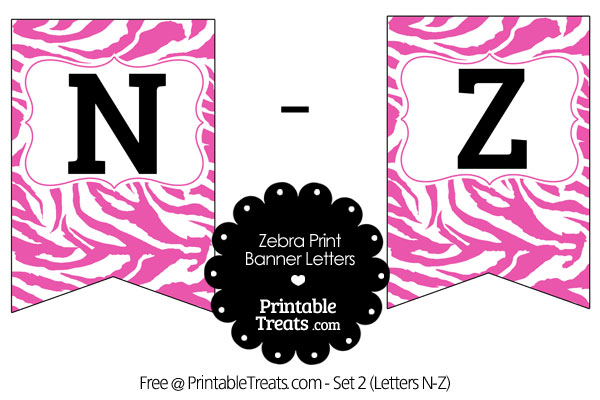 pink and white zebra print bunting banner letters n-z