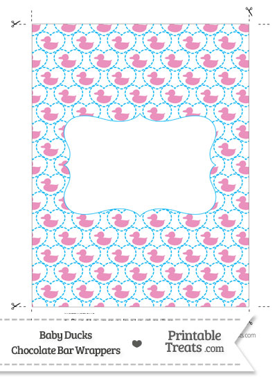 Pink Baby Ducks Chocolate Bar Wrappers from PrintableTreats.com