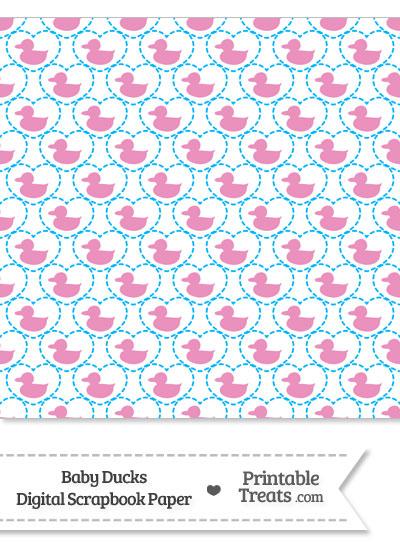 Pink Baby Ducks Digital Scrapbook Paper from PrintableTreats.com