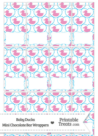 Pink Baby Ducks Mini Chocolate Bar Wrappers from PrintableTreats.com