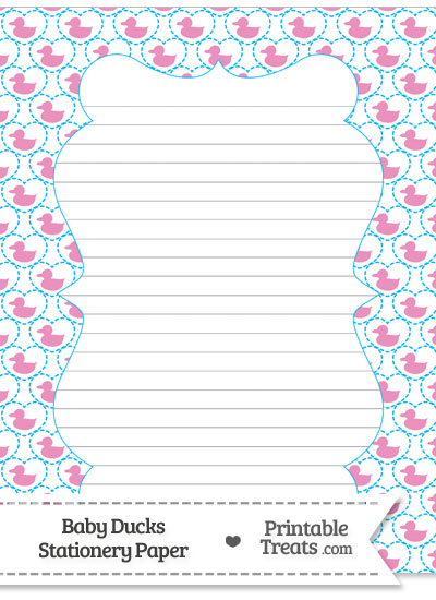 Pink Baby Ducks Stationery Paper from PrintableTreats.com