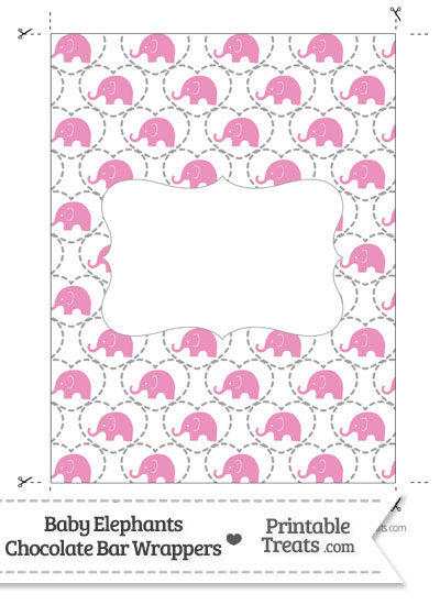 Pink Baby Elephants Chocolate Bar Wrappers from PrintableTreats.com