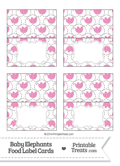 Pink Baby Elephants Food Labels from PrintableTreats.com