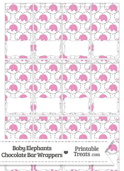 Pink Baby Elephants Mini Chocolate Bar Wrappers from PrintableTreats.com