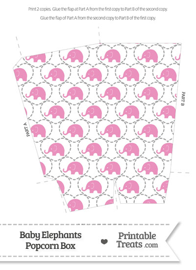 Pink Baby Elephants Popcorn Box from PrintableTreats.com