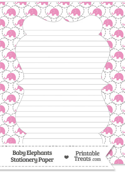 Pink Baby Elephants Stationery Paper from PrintableTreats.com