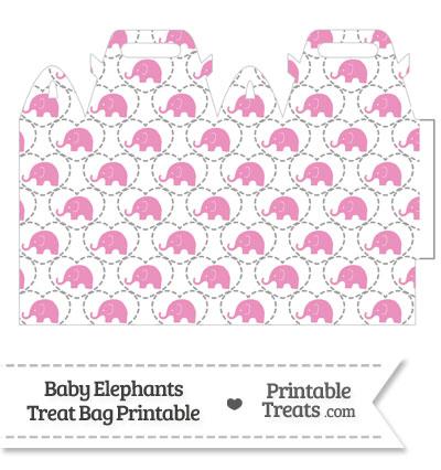 Pink Baby Elephants Treat Bag from PrintableTreats.com