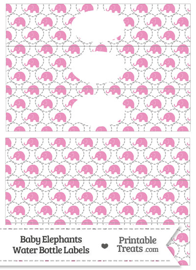 Pink Baby Elephants Water Bottle Wrappers from PrintableTreats.com