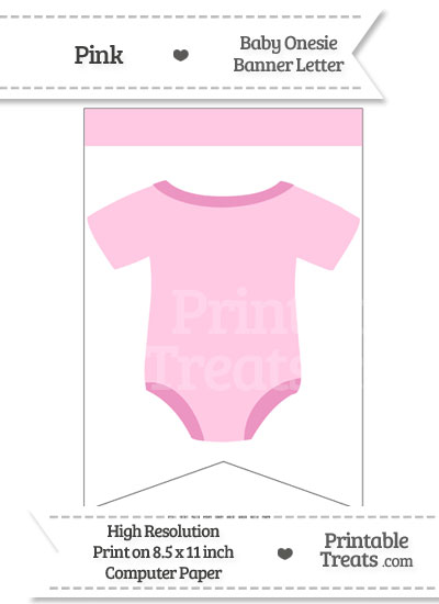 Pink Baby Onesie Bunting Banner Blank from PrintableTreats.com