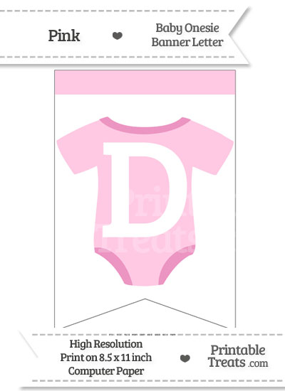 Pink Baby Onesie Bunting Banner Letter D from PrintableTreats.com