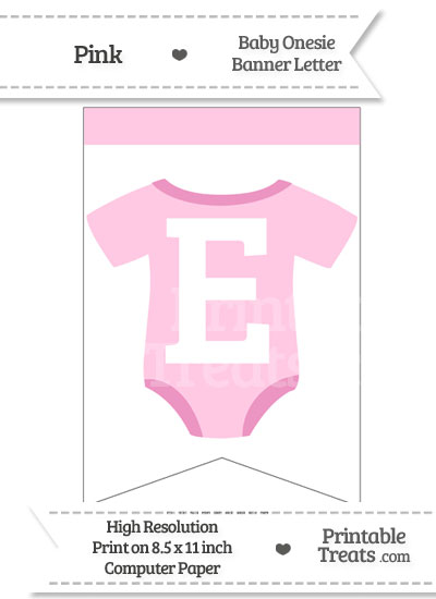 Pink Baby Onesie Bunting Banner Letter E from PrintableTreats.com