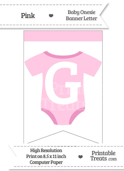 Pink Baby Onesie Bunting Banner Letter G from PrintableTreats.com