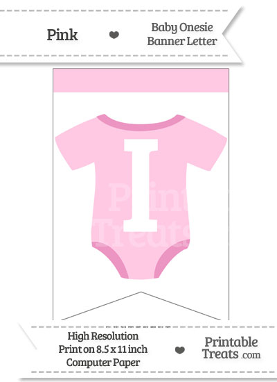 Pink Baby Onesie Bunting Banner Letter I from PrintableTreats.com