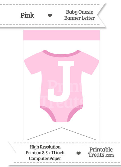 Pink Baby Onesie Bunting Banner Letter J from PrintableTreats.com