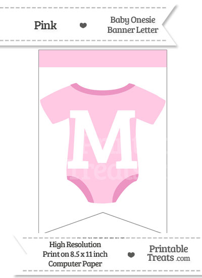 Pink Baby Onesie Bunting Banner Letter M from PrintableTreats.com