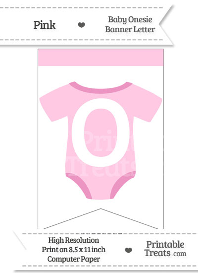 Pink Baby Onesie Bunting Banner Letter O from PrintableTreats.com