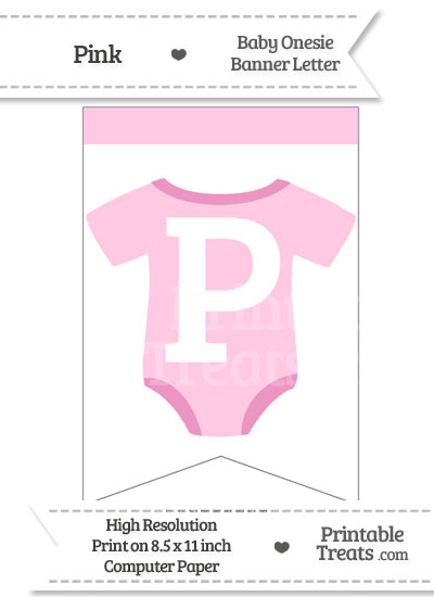 Pink Baby Onesie Bunting Banner Letter P from PrintableTreats.com