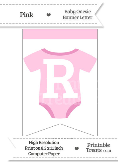Pink Baby Onesie Bunting Banner Letter R from PrintableTreats.com