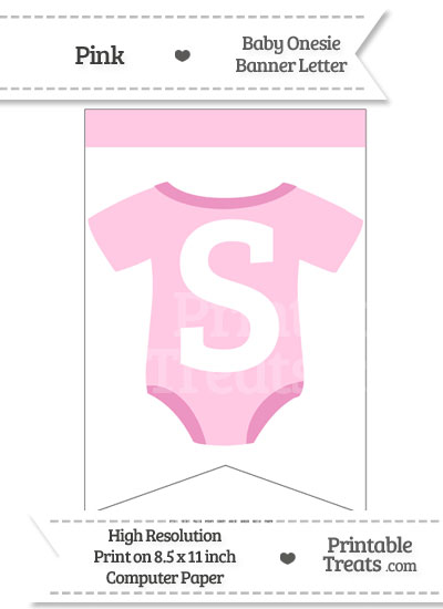 Pink Baby Onesie Bunting Banner Letter S from PrintableTreats.com