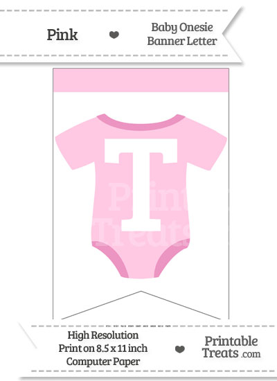 Pink Baby Onesie Bunting Banner Letter T from PrintableTreats.com