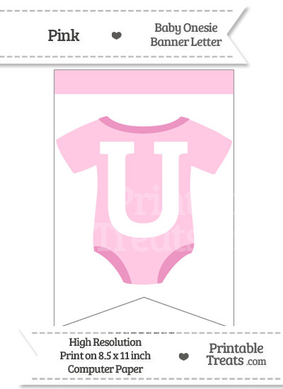 Pink Baby Onesie Bunting Banner Letter U from PrintableTreats.com