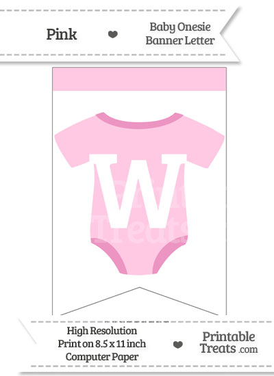Pink Baby Onesie Bunting Banner Letter W from PrintableTreats.com