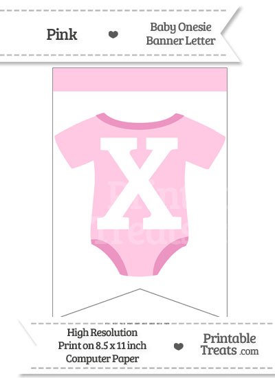 Pink Baby Onesie Bunting Banner Letter X from PrintableTreats.com