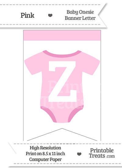 Pink Baby Onesie Bunting Banner Letter Z from PrintableTreats.com