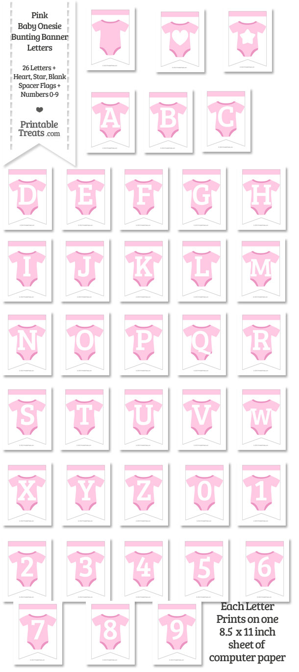 Pink Baby Onesie Bunting Banner Letters Download from PrintableTreats.com