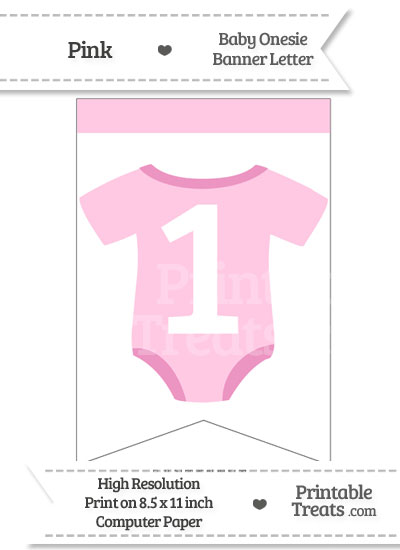 Pink Baby Onesie Bunting Banner Number 1 from PrintableTreats.com
