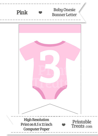 Pink Baby Onesie Bunting Banner Number 3 from PrintableTreats.com