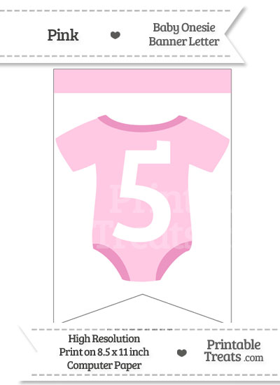 Pink Baby Onesie Bunting Banner Number 5 from PrintableTreats.com